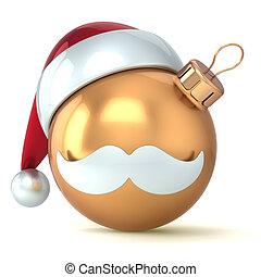 weihnachtskugel, gold, frohes neues jahr