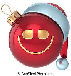 weihnachtskugel, lächeln, frohes neues jahr