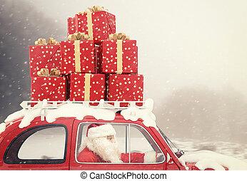 weihnachtsmann, auf, a, rotes auto, voll, von,...