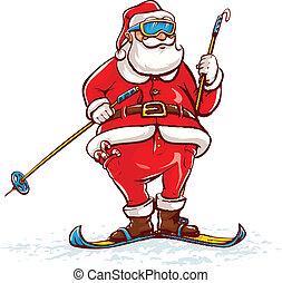 weihnachtsmann, auf, skier