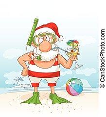 weihnachtsmann, auf, sommer feiertag, vektor, cartoon.eps