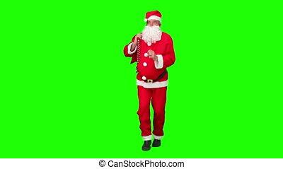 weihnachtsmann, besitz, a, tasche, geschenk, und, tanzen