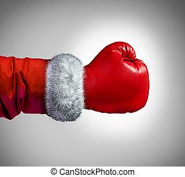 weihnachtsmann, boxhandschuh
