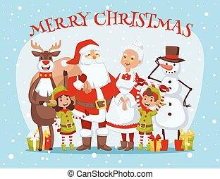 weihnachtsmann, ehefrau, und, kinder, cartoot, familie,...
