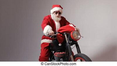 weihnachtsmann, erhält, auf, fahrrad