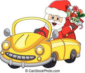 Rosa Auto Claus Santa Fahren Rosa Schneemann Rentier Fahren