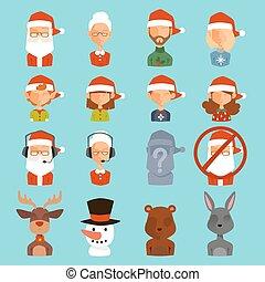 weihnachtsmann, familie, ehefrau, kinder, vektor, avatars