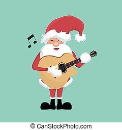 weihnachtsmann, karte, gitarre, weihnachten, spielende