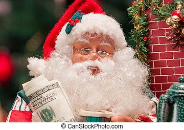 weihnachtsmann, mit, 100 dollar