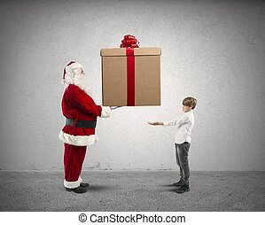 weihnachtsmann, mit, geschenk, für, a, kind