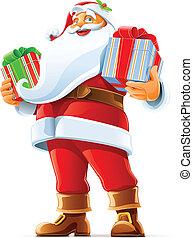 weihnachtsmann, mit, geschenk