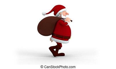weihnachtsmann, mit, geschenktasche, gehen