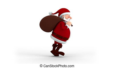 weihnachtsmann, mit, geschenktasche, rennender