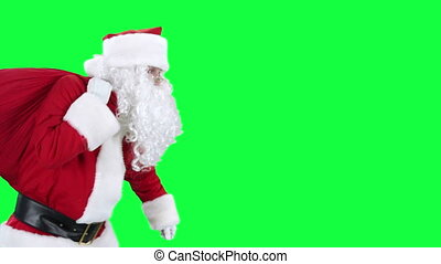 weihnachtsmann, mit, geschenktasche