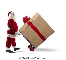 weihnachtsmann, mit, groß, weihnachtsgeschenk