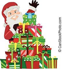 weihnachtsmann, mit, hämorrhoiden, von, weihnachtsgeschenke