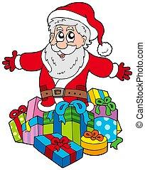 weihnachtsmann, mit, stapel geschenke