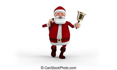 weihnachtsmann, mit, tasche, und, glocke