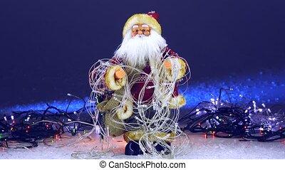 weihnachtsmann, mit, weihnachten, girlanden