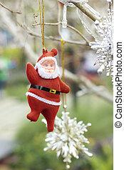 weihnachtsmann, mit, weihnachtsbaum