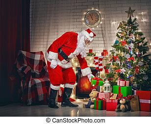 weihnachtsmann, mit, weihnachtsgeschenke