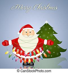 weihnachtsmann, mit, weihnachtslicht