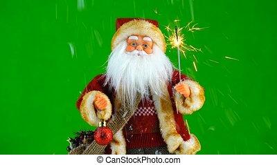 weihnachtsmann, mit, wunderkerze