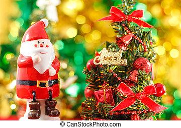 weihnachtsmann, porzellanfigur, mit, weihnachtsbaum
