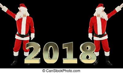 weihnachtsmann, tanz, und, 2018, zeichen