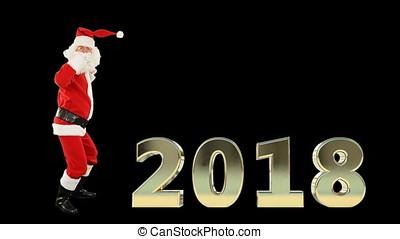 weihnachtsmann, tanzen, mit, 2018, zeichen