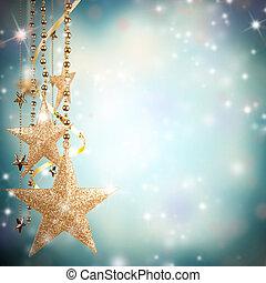 weihnachtsmotive, mit, gold, glas, sternen, und, frei, raum, für, text
