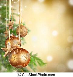 weihnachtsmotive, mit, goldenes, glas, kugeln, und, frei, raum, für, text