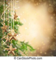 weihnachtsmotive, mit, goldenes, glas, sternen, und, frei, raum, für, text