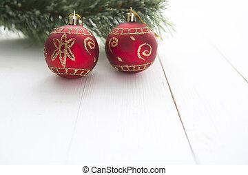 weihnachtsmotive, mit, leer, papier, auf, holzplanken