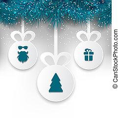 weihnachtspapier, kugeln, mit, dekoration, entwerfen elemente