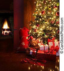 weihnachtsszene, mit, baum, und, feuer, in, hintergrund