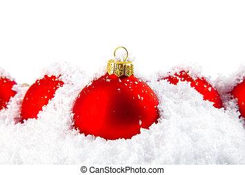weihnachtsurlaub, dekoration, mit, weißer schnee, und, rotes , schüsseln
