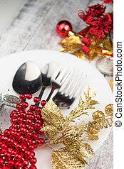 weihnachtsurlaub, gedeckter tisch