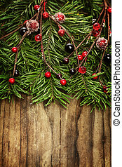 weihnachtsurlaub, hölzern, hintergrund, design, zusammensetzung