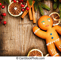 weihnachtsurlaub, hintergrund., lebkuchen mann, aus, holz