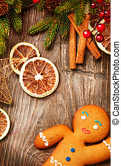weihnachtsurlaub, hintergrund., lebkuchen mann