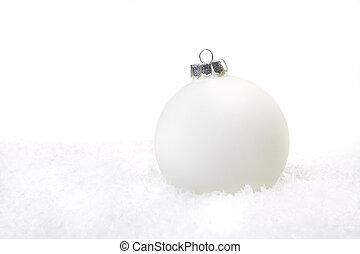 weihnachtsurlaub, verzierung, in, schnee