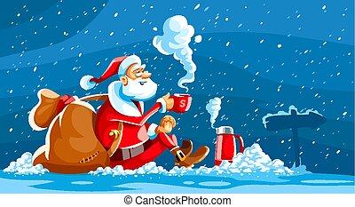 weihnachtsurlaub, weihnachtsmann, sitzen, auf, schnee