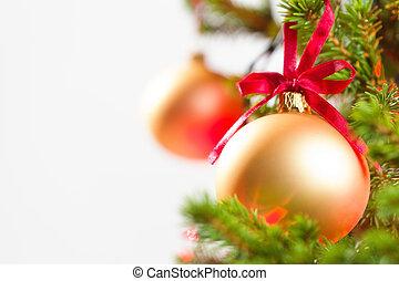 weihnachtszierde, mit, angezündet, baum, in, hintergrund, kopieren platz