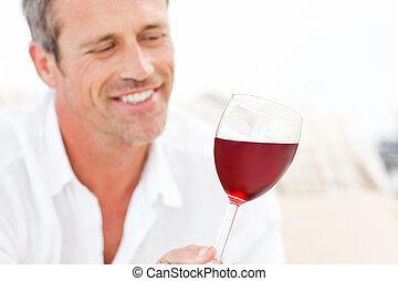 wein, einige, mann, hübsch, trinken, rotes