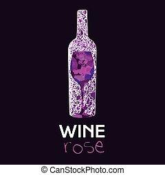wein, rose, glas, und, flasche
