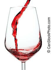 wein, spritzen, glas., rotes , closeup.