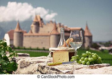 wein, und, grapes., chateau, de, aigle, schweiz
