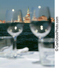 outdoor restaurant with fantastic view - Weinglasses in ...