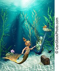 weinig; niet zo(veel), 2, mermaid